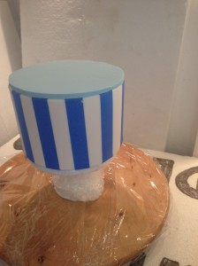 Fondant on the top & taped stripes